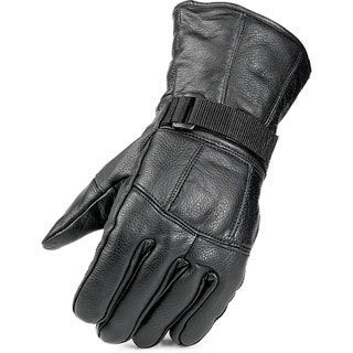 Raider Men's Black Leather Fleece-lined Gloves with Adjustable Wrist Closures