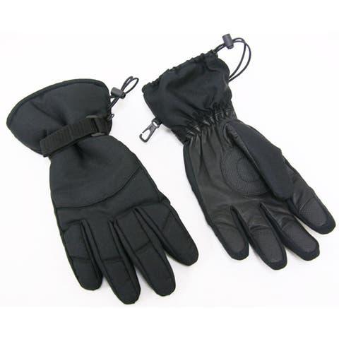 Black Leather/ Nylon Ski Gloves