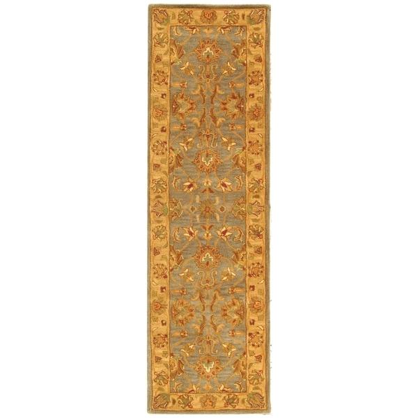 Safavieh Handmade Heritage Traditional Kerman Blue/ Beige Wool Runner (2'3 x 14')
