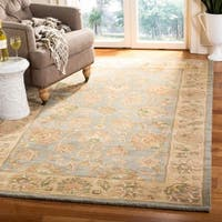 Safavieh Handmade Heritage Traditional Kerman Blue/ Beige Wool Rug - 3' x 5'