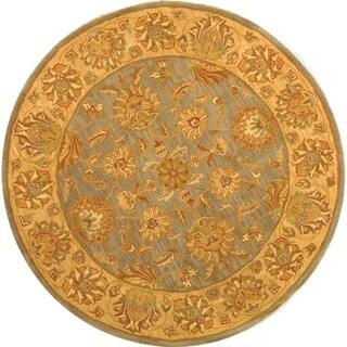 Safavieh Handmade Heritage Traditional Kerman Blue/ Beige Wool Rug (6' Round)