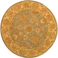Safavieh Handmade Heritage Traditional Kerman Blue/ Beige Wool Rug - 6' x 6' Round