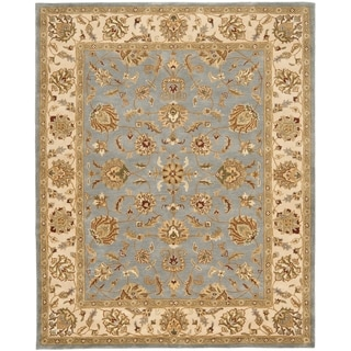 Safavieh Handmade Heritage Traditional Kerman Blue/ Beige Wool Rug (6' x 9')
