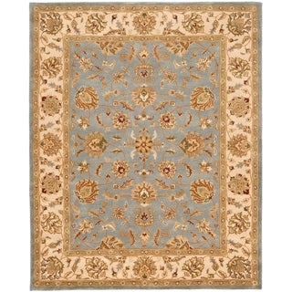 Safavieh Handmade Heritage Traditional Kerman Blue/ Beige Wool Rug (7'6 x 9'6)