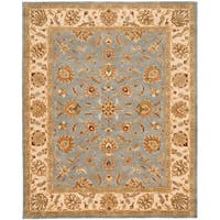 Safavieh Handmade Heritage Traditional Kerman Blue/ Beige Wool Rug - 7'6 x 9'6