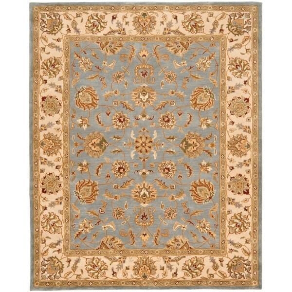 """Safavieh Handmade Heritage Traditional Kerman Blue/ Beige Wool Rug - 8'3"""" x 11'"""