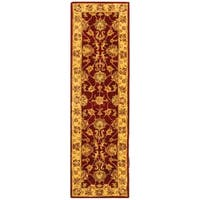 "Safavieh Handmade Heritage Traditional Kerman Red/ Gold Wool Runner Rug - 2'3"" x 8'"