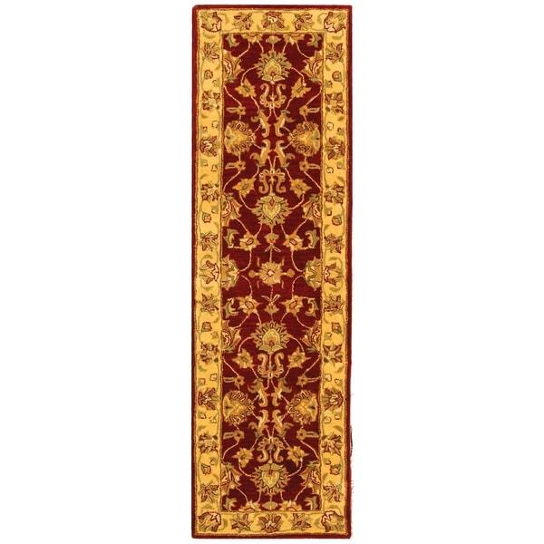 Safavieh Handmade Heritage Traditional Kerman Red/ Gold Wool Runner (2'3 x 14')