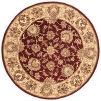 Safavieh Handmade Heritage Traditional Kerman Red/ Gold Wool Rug - 6' x 6' Round