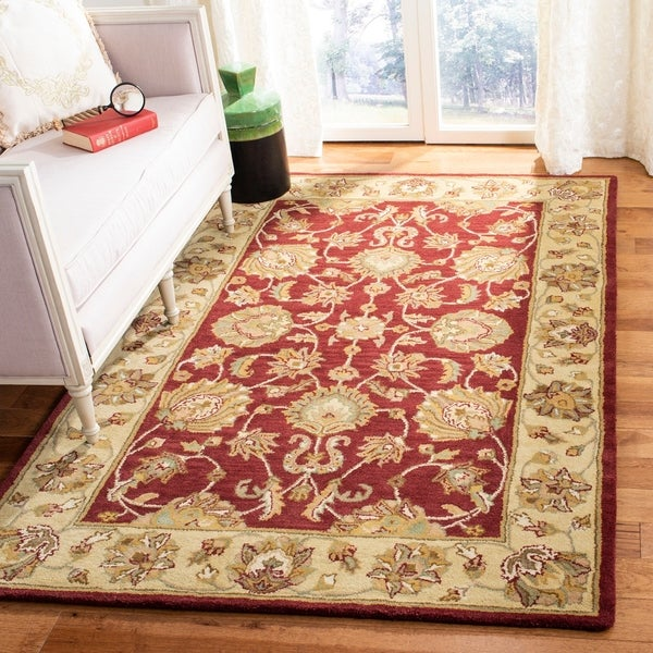 Safavieh Handmade Heritage Traditional Kerman Red/ Gold Wool Rug - 7'6 x 9'6