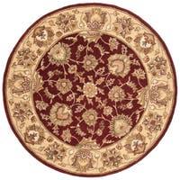 Safavieh Handmade Heritage Traditional Kerman Red/ Gold Wool Rug - 8' x 8' Round