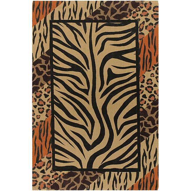 Flat-weave Mandara Animal Print Flora Rug (5' x 7'6)