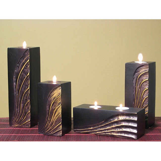 Hand-carved Gold Wave Candle Holders (Set of 4)