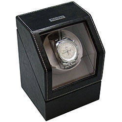 Black Leather Dual Powered Single Watch Winder - Thumbnail 0