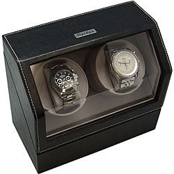 Black Leather Battery-powered Dual Watch Winder - Thumbnail 0