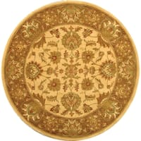 "Safavieh Handmade Heritage Traditional Kerman Ivory/ Brown Wool Rug - 3'6"" x 3'6"" round"