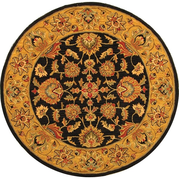Safavieh Handmade Heritage Traditional Kerman Charcoal/ Gold Wool Rug - 6' x 6' Round