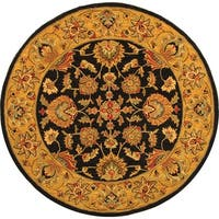 Safavieh Handmade Heritage Traditional Kerman Charcoal/ Gold Wool Rug - 6' x 6' Round