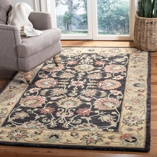 Safavieh Handmade Heritage Traditional Kerman Charcoal/ Gold Wool Rug (7'6 x 9'6)