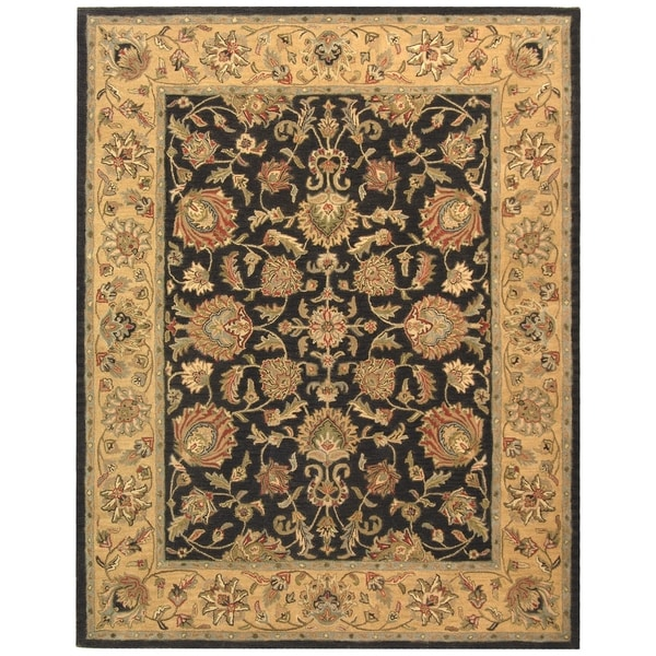 "Safavieh Handmade Heritage Traditional Kerman Charcoal/ Gold Wool Rug - 7'6"" x 9'6"""