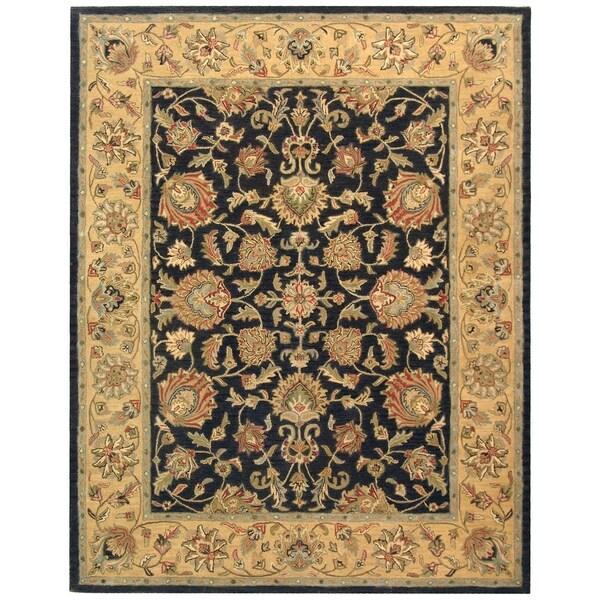 Safavieh Handmade Heritage Traditional Kerman Charcoal/ Gold Wool Rug - 9'6 x 13'6