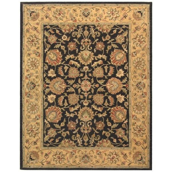 "Safavieh Handmade Heritage Traditional Kerman Charcoal/ Gold Wool Rug - 9'6"" x 13'6"""
