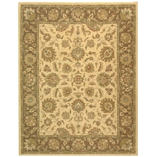 Safavieh Handmade Heritage Traditional Kerman Ivory/ Brown Wool Rug (7'6 x 9'6)