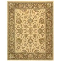 Safavieh Handmade Heritage Traditional Kerman Ivory/ Brown Wool Rug - 7'6 x 9'6