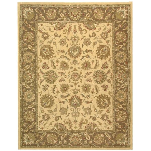 """Safavieh Handmade Heritage Traditional Kerman Ivory/ Brown Wool Rug - 8'3"""" x 11'"""