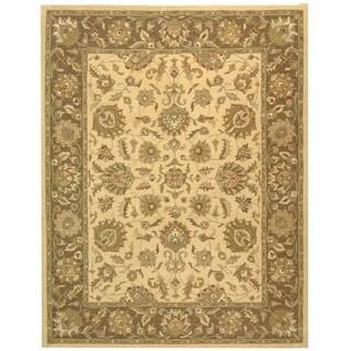 Safavieh Handmade Heritage Traditional Kerman Ivory/ Brown Wool Rug (9'6 x 13'6)
