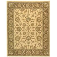 """Safavieh Handmade Heritage Traditional Kerman Ivory/ Brown Wool Rug - 9'6"""" x 13'6"""""""