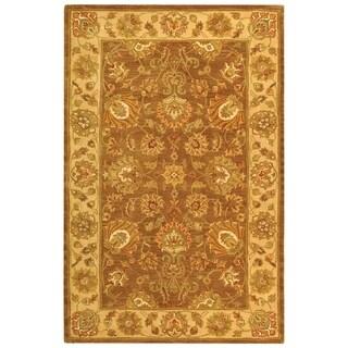 Safavieh Handmade Heritage Traditional Kerman Brown/ Ivory Wool Floral Rug (5' x 8')