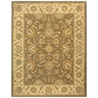 "Safavieh Handmade Heritage Traditional Kerman Brown/ Ivory Wool Rug - 7'6"" x 9'6"""