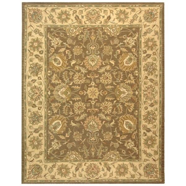 Safavieh Handmade Heritage Traditional Kerman Brown/ Ivory Wool Rug - 7'6 x 9'6
