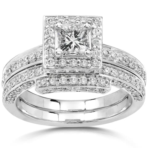 Annello by Kobelli 14k White Gold 1 1/4ct TDW Diamond Square Halo Geometric Womens Bridal Rings Set