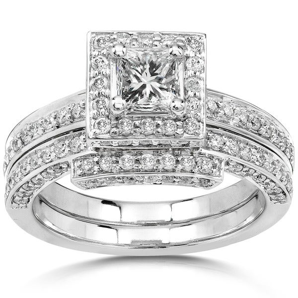 Annello by Kobelli 14k White Gold 1 1/4ct TDW Diamond Square Halo Bridal Ring Set