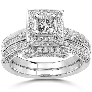 Annello by Kobelli 14k Gold 1 1/4ct TDW Diamond Halo Bridal Ring Set (H-I, I1-I2)