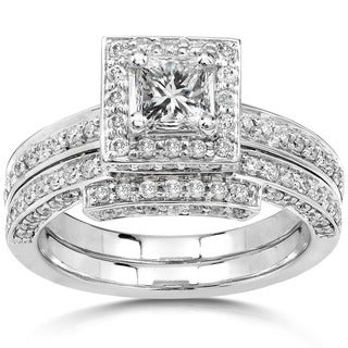 Annello 14k Gold 1 1/4ct TDW Diamond Halo Bridal Ring Set (H-I, I1-I2)