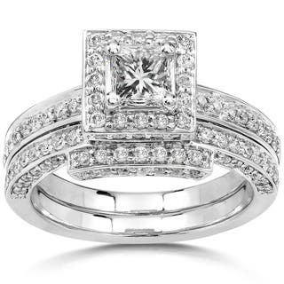 Annello by Kobelli 14k Gold 1 1/4ct TDW Diamond Halo Bridal Ring Set|https://ak1.ostkcdn.com/images/products/3644234/P11711303.jpg?impolicy=medium