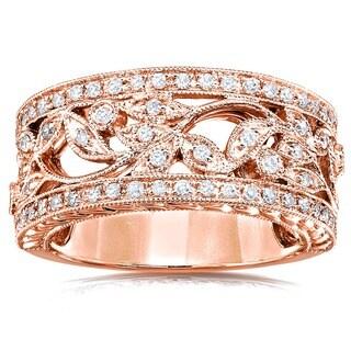 Annello 14k Gold 1/4ct TDW Round Diamond Vintage Floral Milgrain Anniversary Ring