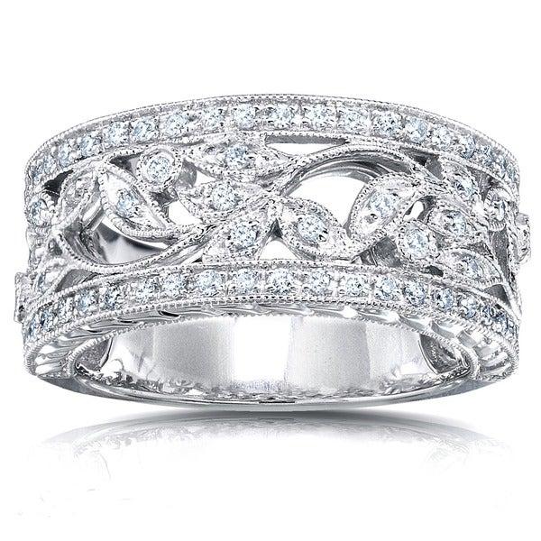 Annello 14k White Gold 1/4ct TDW Round Diamond Vintage Floral Milgrain Anniversary Ring (G-H, I1-I2)