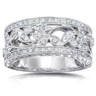 Annello 14k Gold 1/4ct TDW Round Diamond Vintage Floral Milgrain Anniversary Ring|https://ak1.ostkcdn.com/images/products/3644310/P11711340.jpg?_ostk_perf_=percv&impolicy=medium