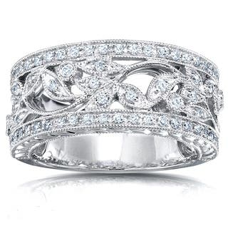 Annello 14k Gold 1/4ct TDW Round Diamond Vintage Floral Milgrain Anniversary Ring|https://ak1.ostkcdn.com/images/products/3644310/P11711340.jpg?impolicy=medium