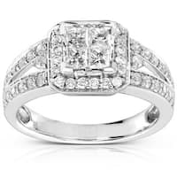 Annello by Kobelli 14k Gold 1ct TDW Quad Princess Halo Diamond Engagement Ring