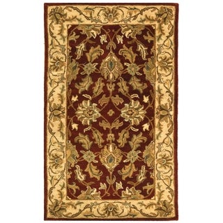 Safavieh Handmade Heritage Traditional Kashan Red/ Ivory Wool Rug (2' x 3')