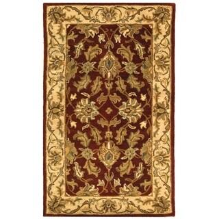 Safavieh Handmade Heritage Traditional Kashan Red/ Ivory Wool Rug (2' x 3')