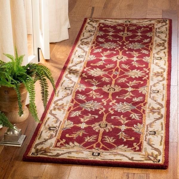 "Safavieh Handmade Heritage Traditional Kashan Red/ Ivory Wool Runner - 2'3"" x 8'"