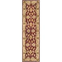 Safavieh Handmade Heritage Traditional Kashan Red/ Ivory Wool Runner Rug - 2'3 x 14'