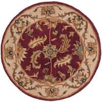 "Safavieh Handmade Heritage Traditional Kashan Red/ Ivory Wool Rug - 3'6"" x 3'6"" round"