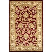 Safavieh Handmade Heritage Traditional Kashan Red/ Ivory Wool Rug (5' x 8')